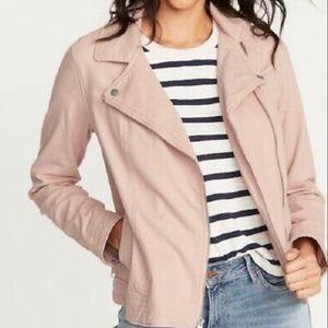 Old Navy Women's Twill Moto Jacket Pink 391420